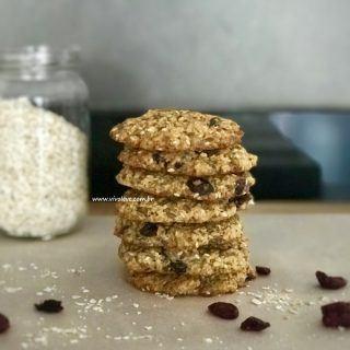 Cookies de aveia com coco, chia, linhaça e gergelim – Um lanche saudável para as crianças e toda a família
